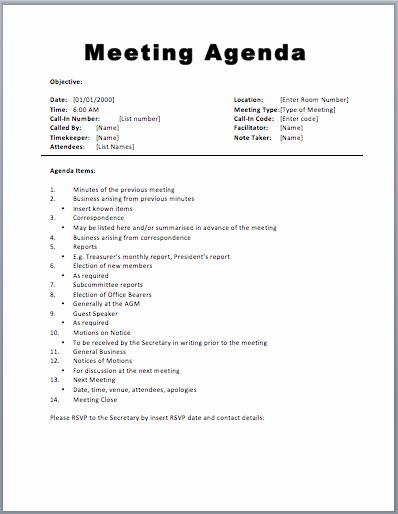 Example Of Meeting Agenda format Fresh Meeting Agenda Template 1 Agenda