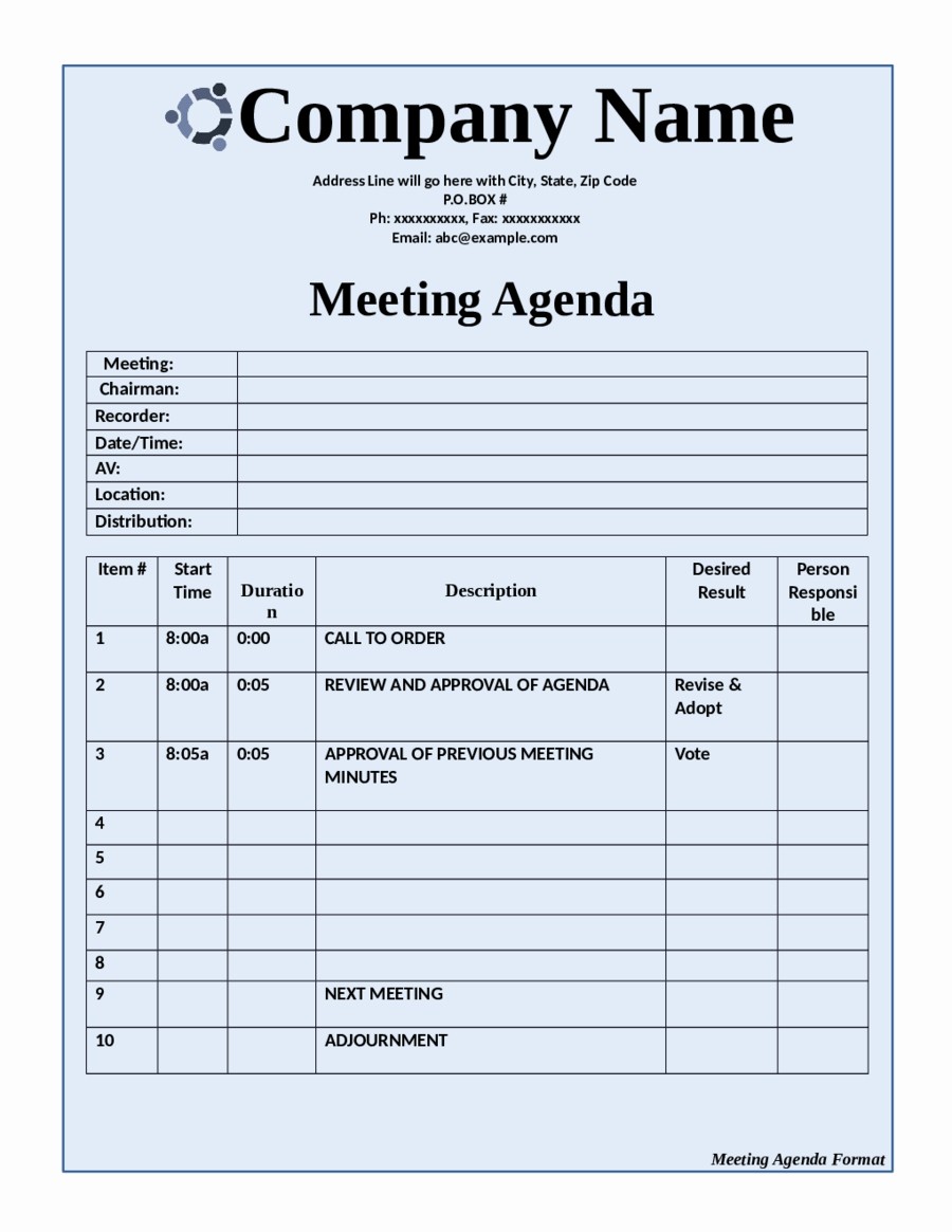 Example Of Meeting Agenda format Inspirational 2019 Meeting Agenda Template Fillable Printable Pdf