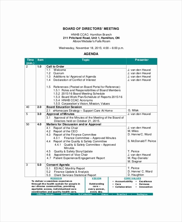 Example Of Meeting Agenda format Lovely Board Of Directors Meeting Agenda Template – 8 Free Word
