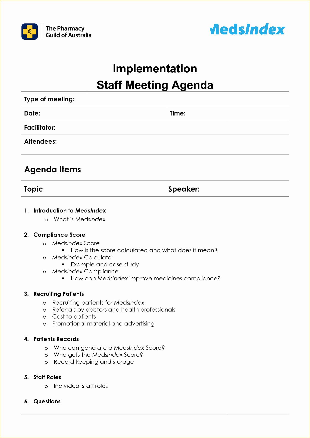 Example Of Meeting Agenda format Luxury Meeting Staff Meeting Agenda Template