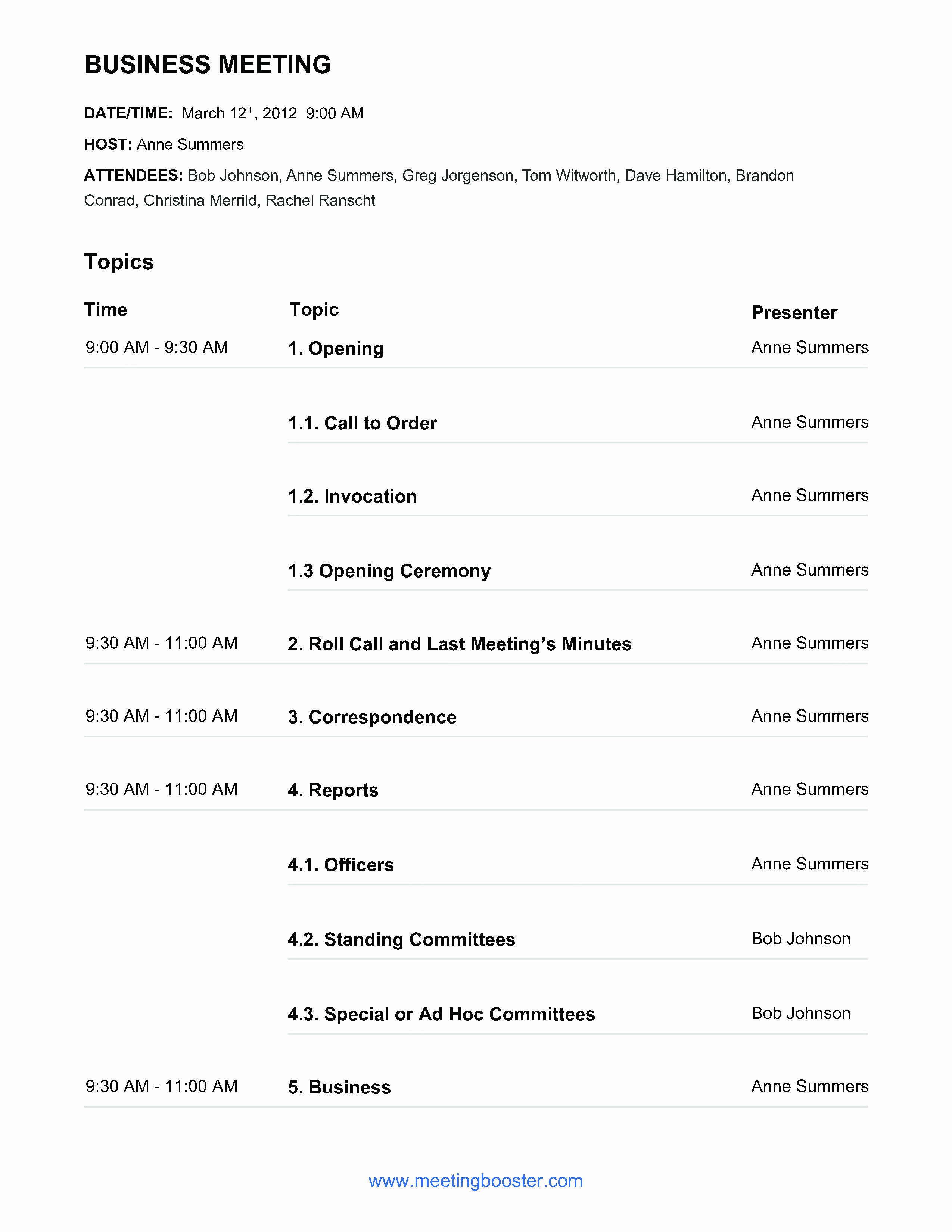 Example Of Meeting Agenda format New Free Business Meeting Agenda Example