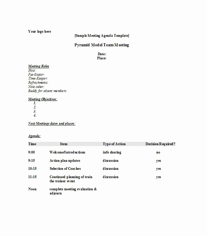 Example Of Meeting Agenda format Unique 51 Effective Meeting Agenda Templates Free Template