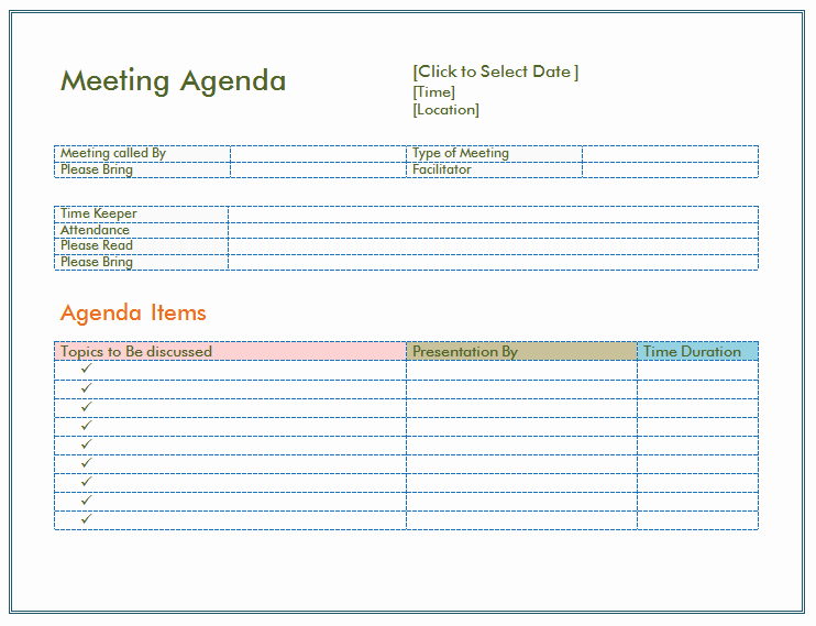 Example Of Meeting Agenda format Unique Basic Meeting Agenda Template formal & Informal Meetings