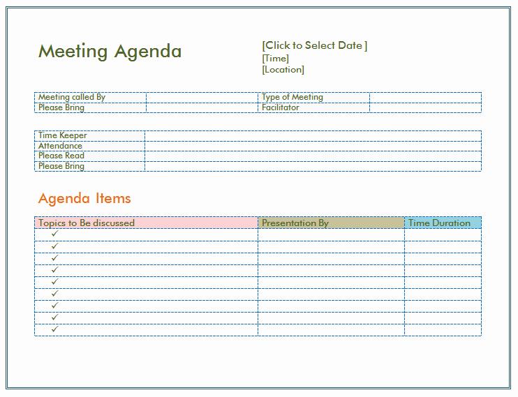 Example Of Meeting Agenda format Unique Basic Meeting Agenda Template formal & Informal Meetings