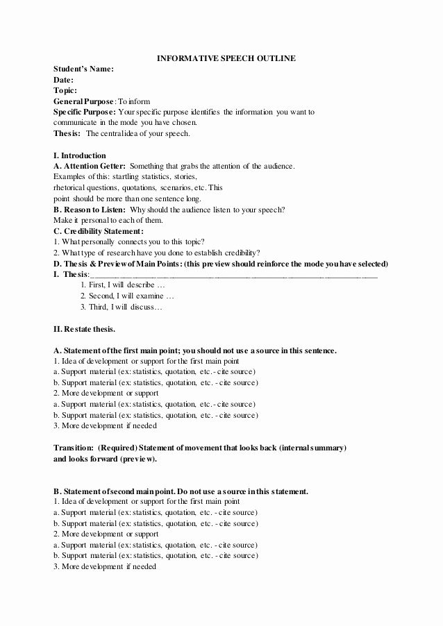 Example Of Outline for Speech Awesome Informative Speech Outline Sample
