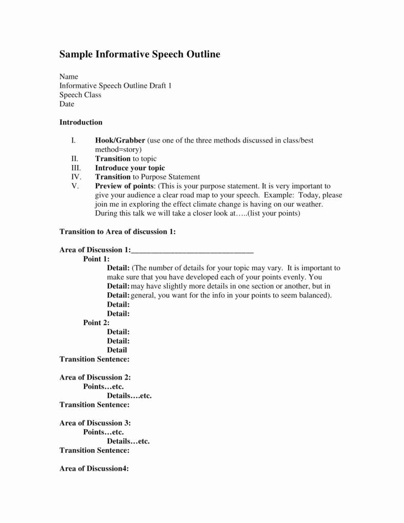 Example Of Outline for Speech Beautiful 7 Informative Speech Outline Templates Pdf