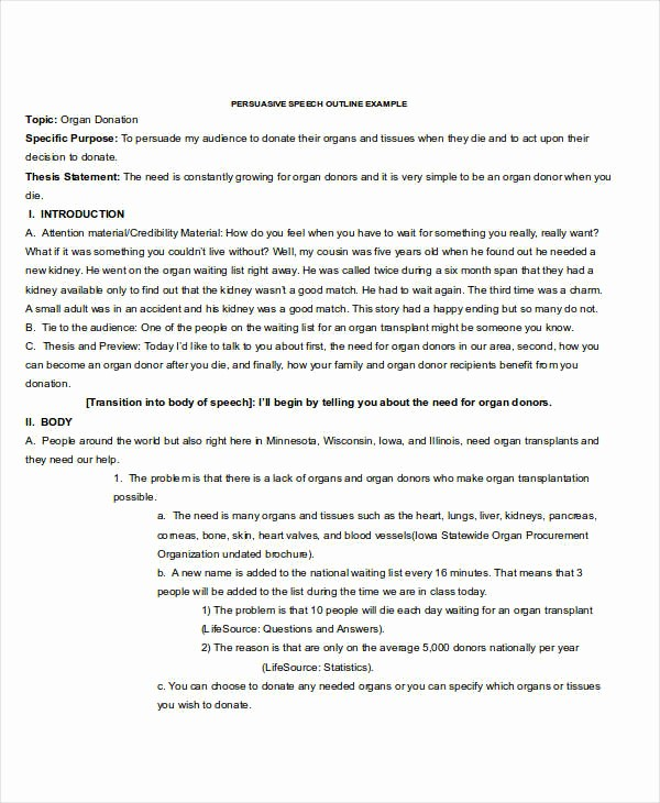 Example Of Outline for Speech Best Of 6 Speech Outline Examples Samples