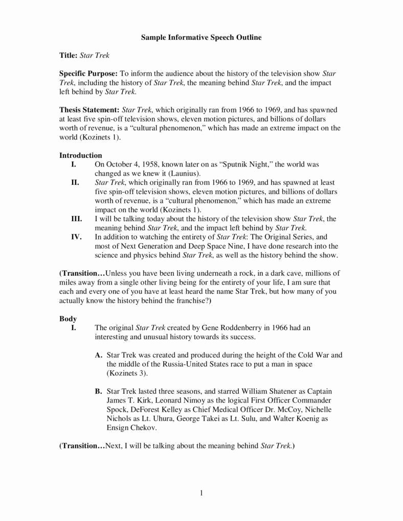 Example Of Outline for Speech Lovely 7 Informative Speech Outline Templates Pdf
