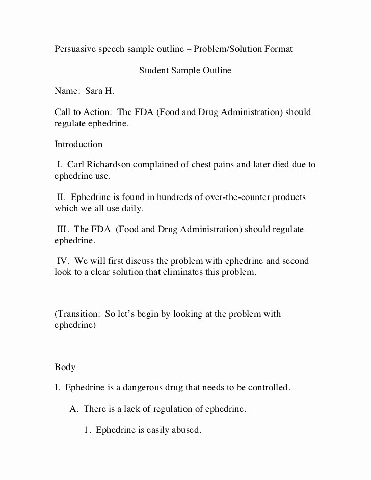 Example Of Outline for Speech New Persuasive Speech Sample Outline – Problem