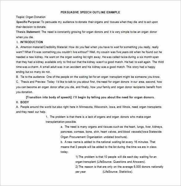 Example Of Outline for Speech Unique 4 Persuasive Speech Outline Templates Pdf Doc