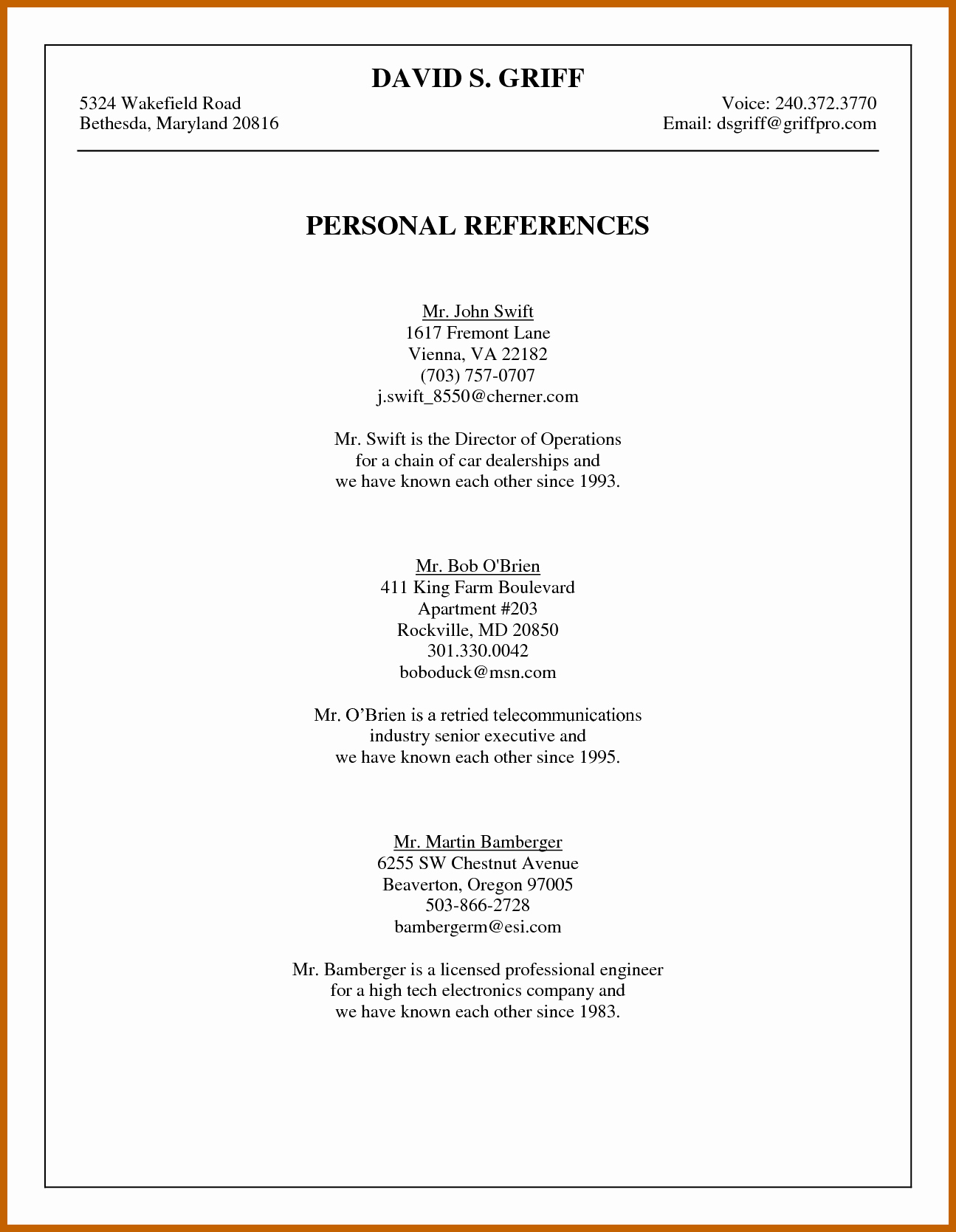 Example Of Professional Reference List Awesome 6 7 Job References Example