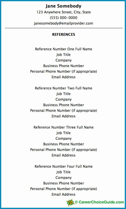 Example Of Professional Reference List Best Of Resume Reference Page Setup