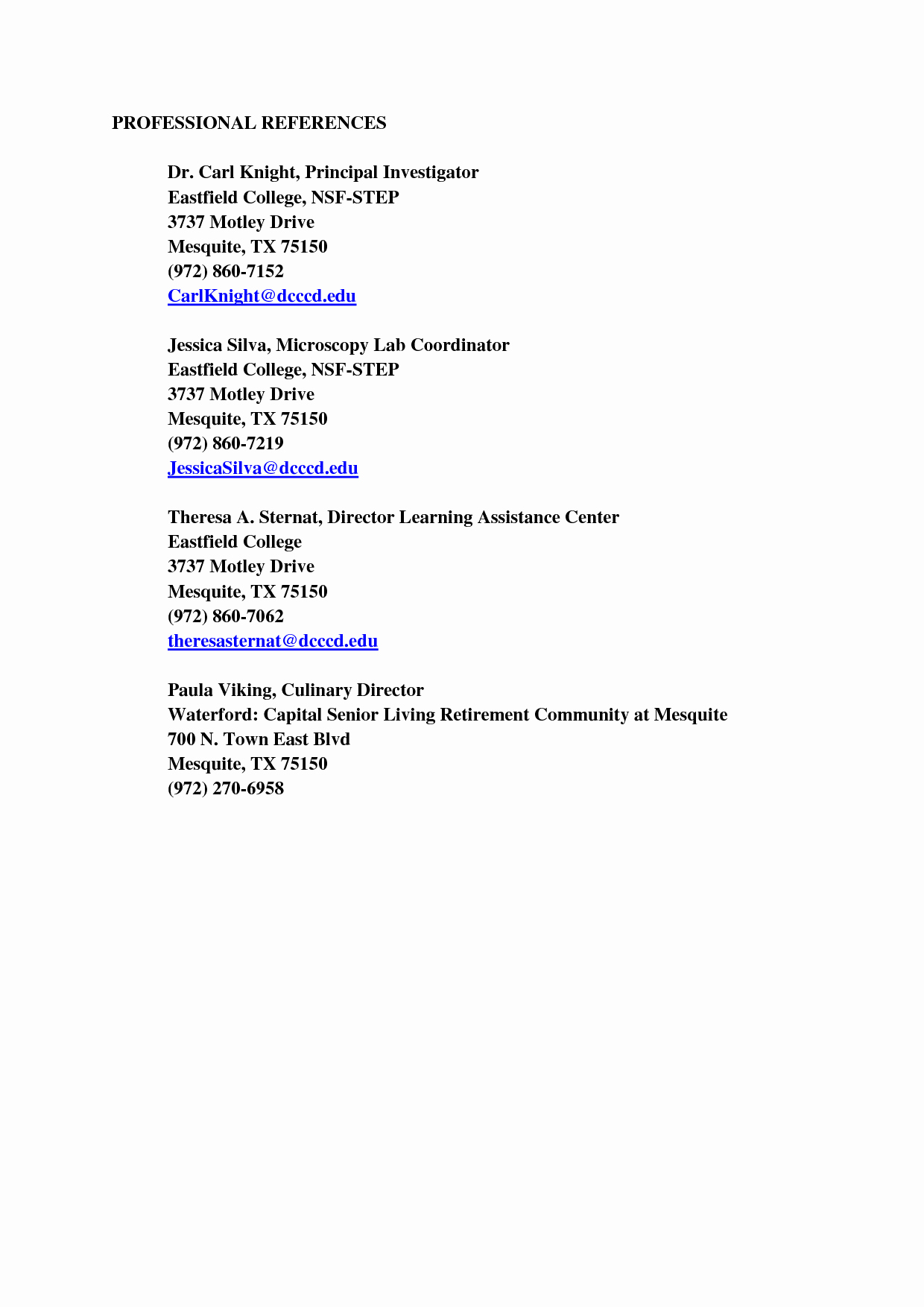 Example Of Professional Reference List Elegant Professional References Template