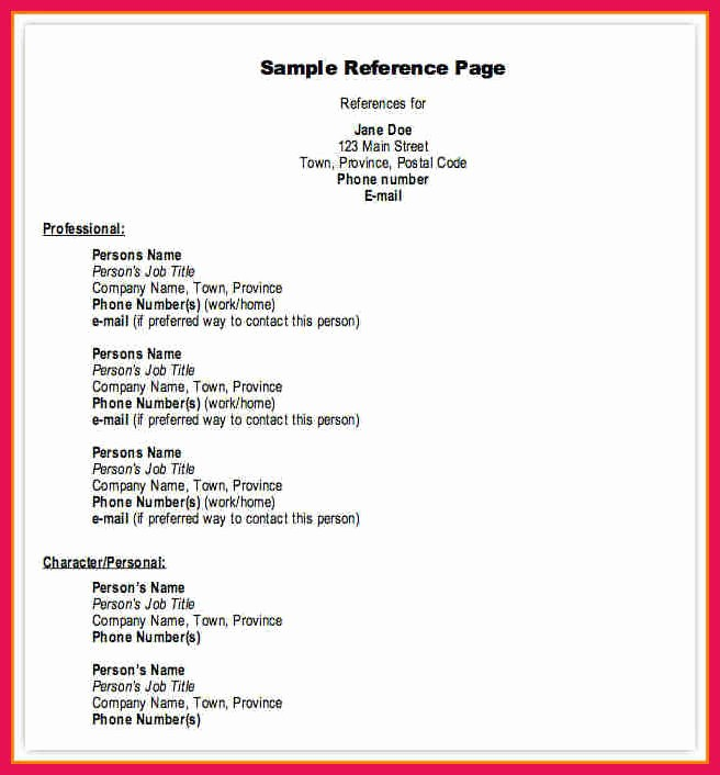 Example Of Professional Reference List Inspirational Professional References format
