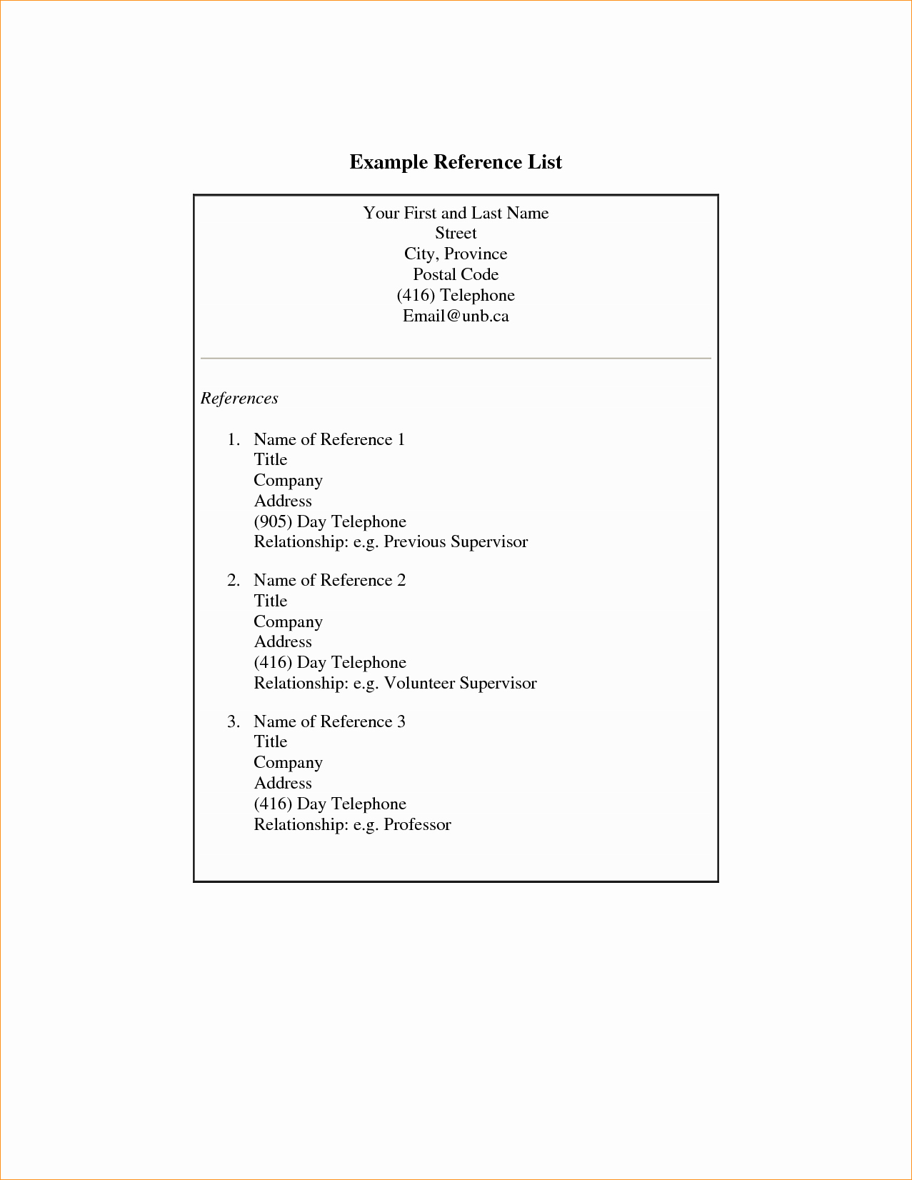 Example Of Professional Reference List Lovely 3 Professional References Examples Business Proposal