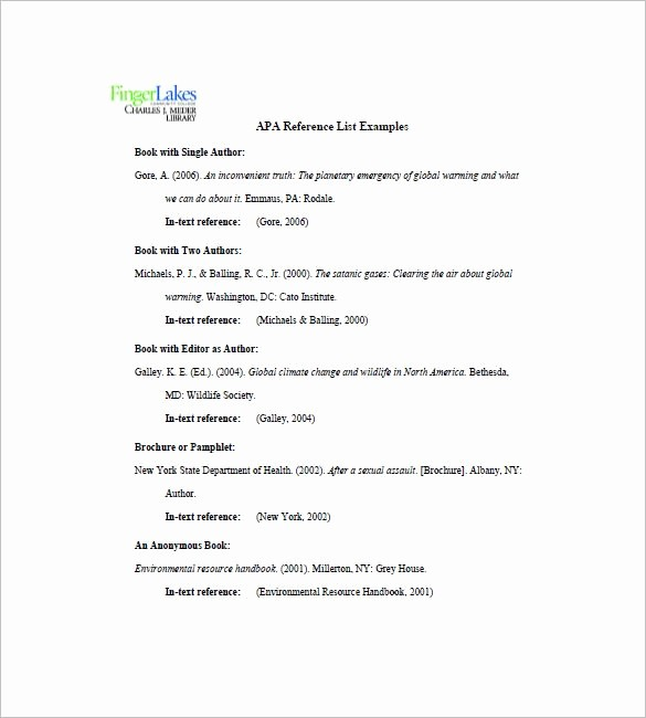 Example Of Professional Reference List Luxury Apa Reference List Things Should Be Done and Prepared In