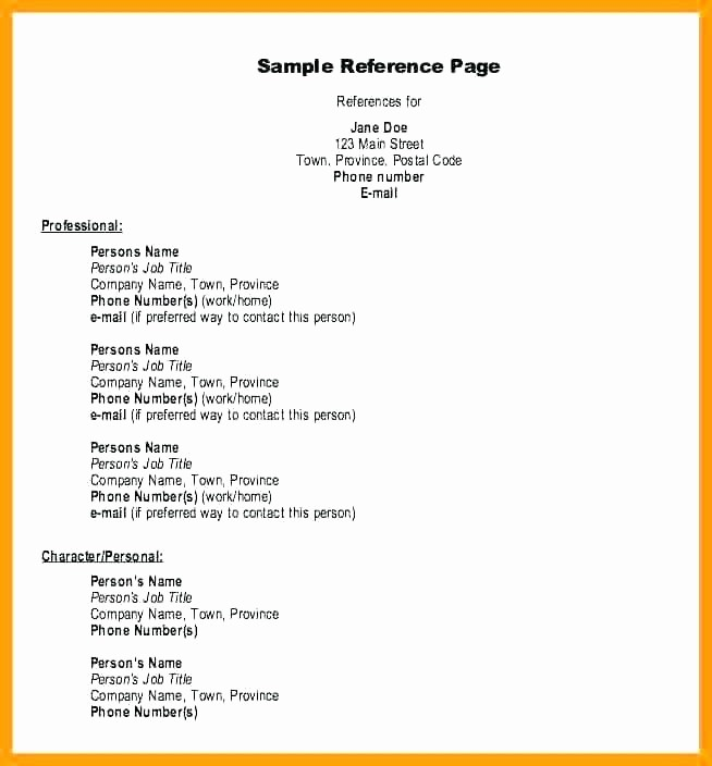 Example Of Professional References Page Luxury References Resume Layout A – Letsdeliver