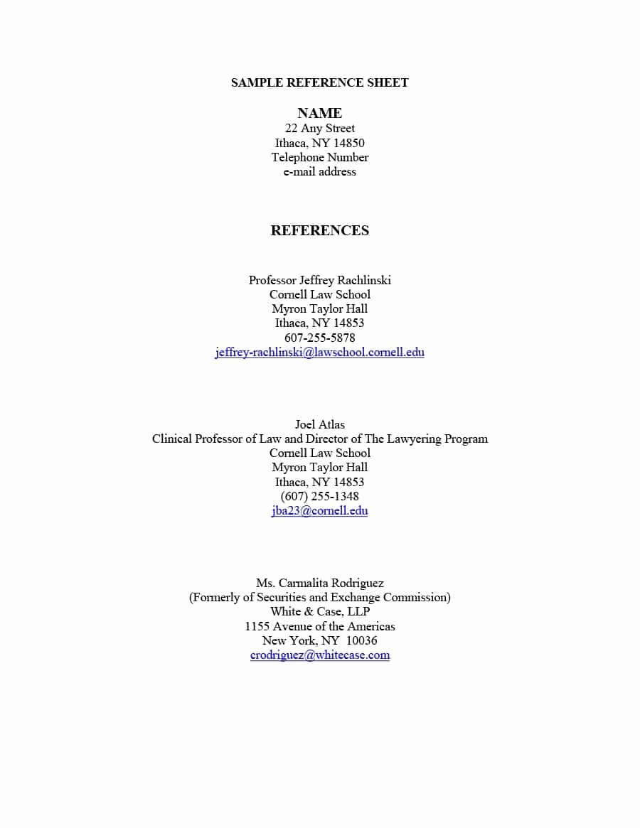 Example Of Professional References Page New 40 Professional Reference Page Sheet Templates