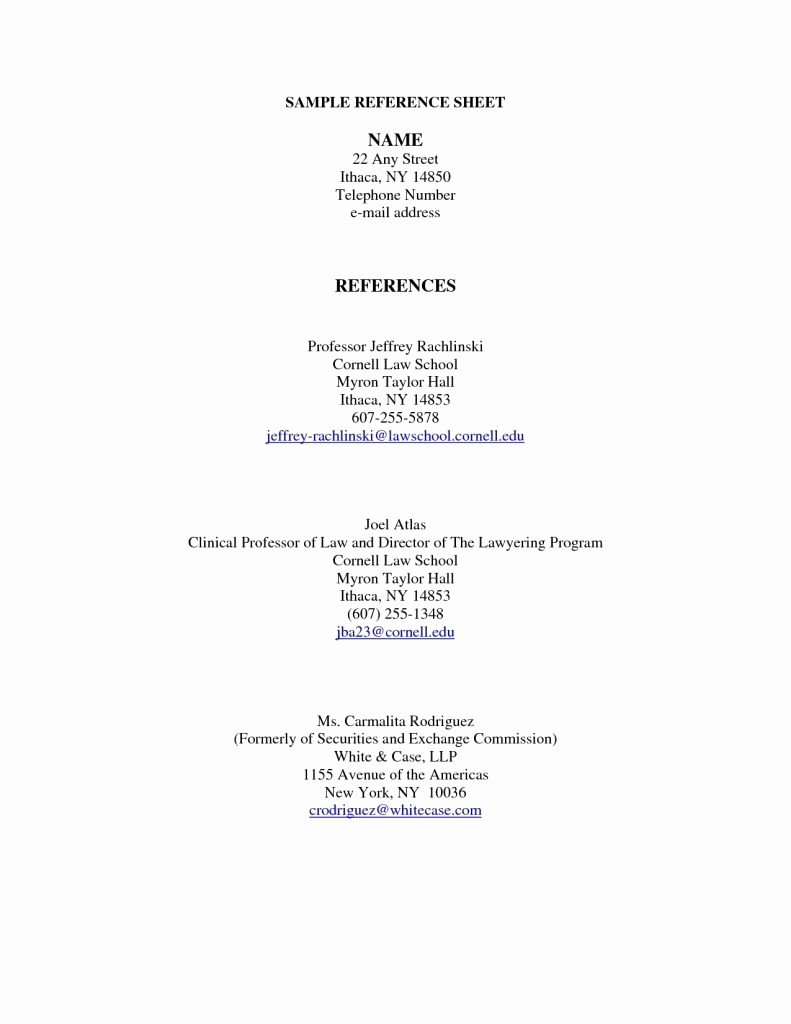 Example Of References In Resume Best Reference Page Format Featuring Cover Letter
