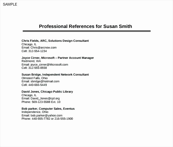 Example Of References In Resume Inspirational Example References Resume Professional Reference