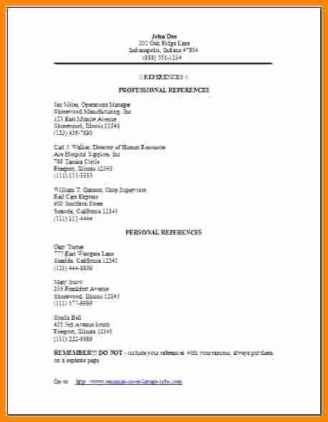 Example Of References In Resume Lovely 4 Job References format