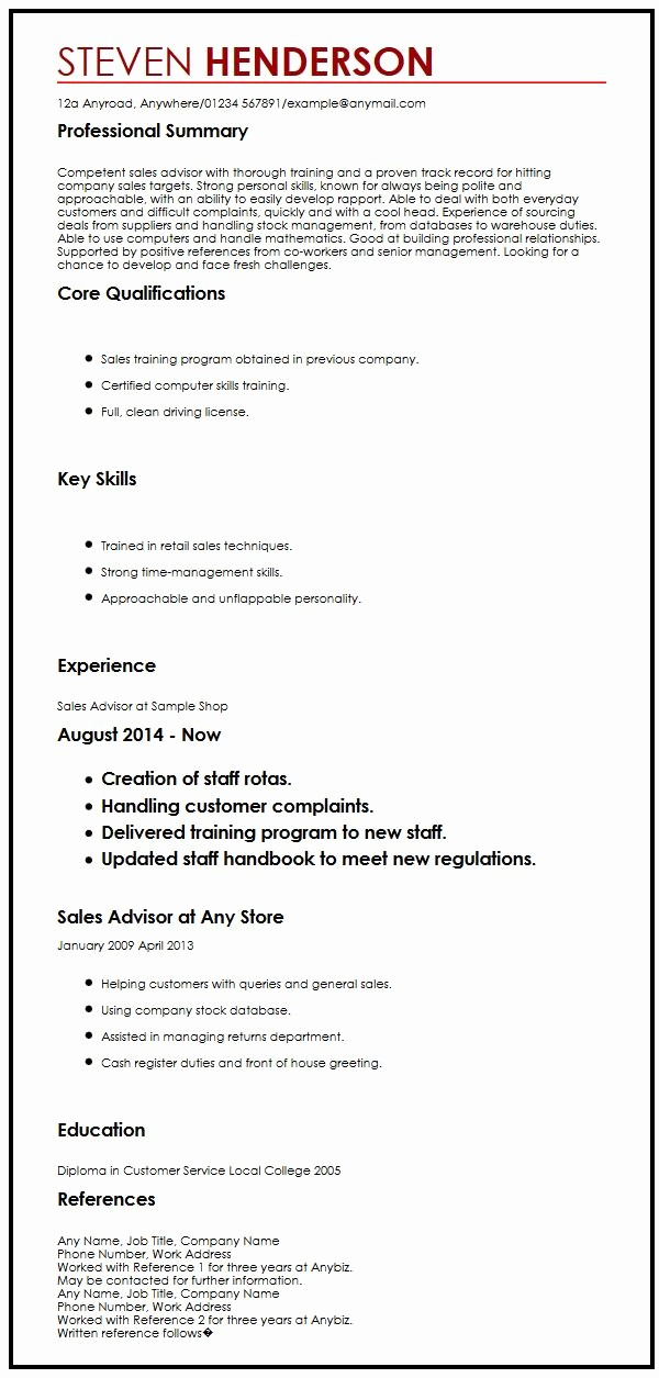 Example Of References In Resume Lovely Cv Example with References