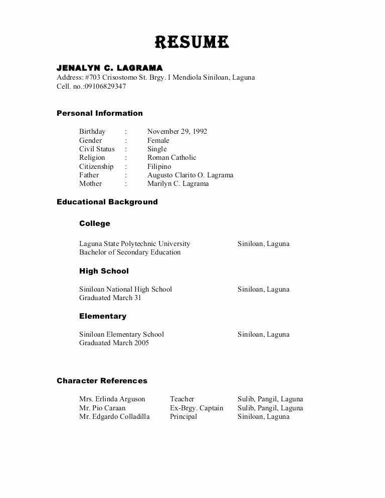 Example Of References In Resume New Character Reference Resume Best Resume Collection