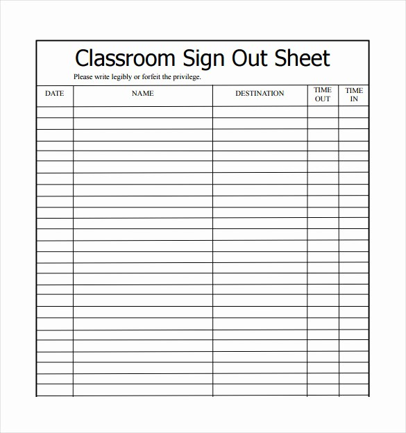 Example Of Sign In Sheet Fresh 16 Sign Out Sheet Templates Free Sample Example