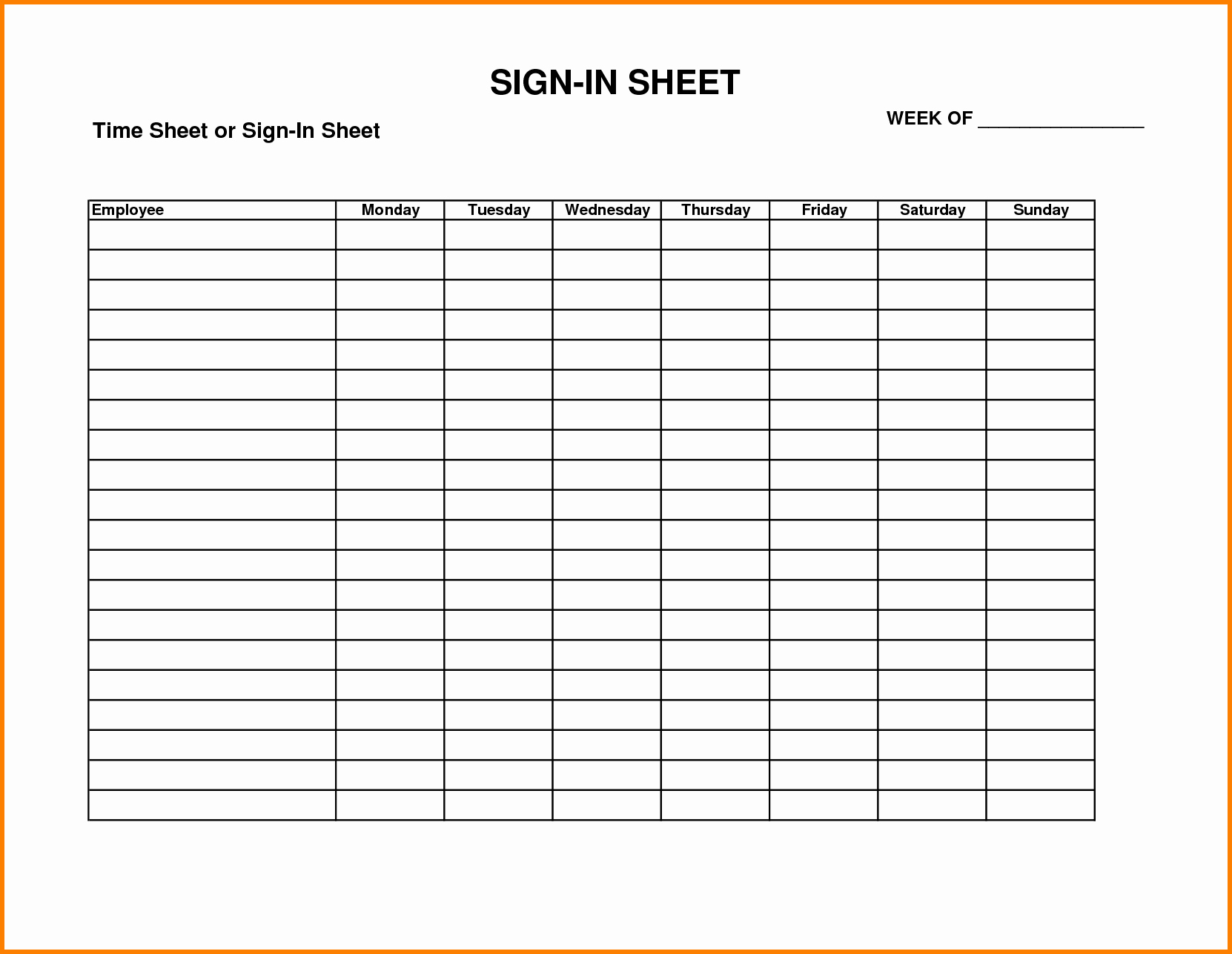 Example Of Sign In Sheet Awesome Free Printable Patient Sign In