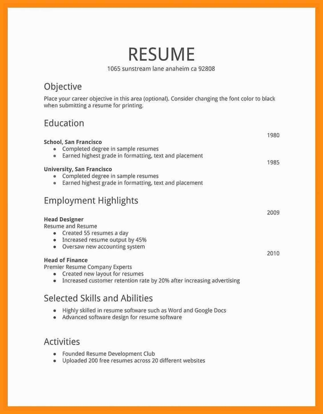 Example Of Simple Resume format Elegant 11 12 Simple Cv format for Job