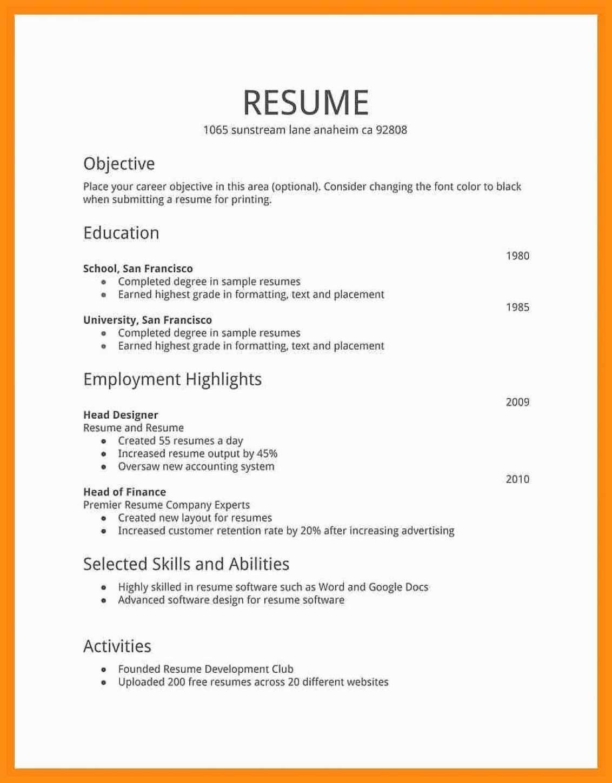 Example Of Simple Resume format Elegant 11 12 Simple Cv format for Job