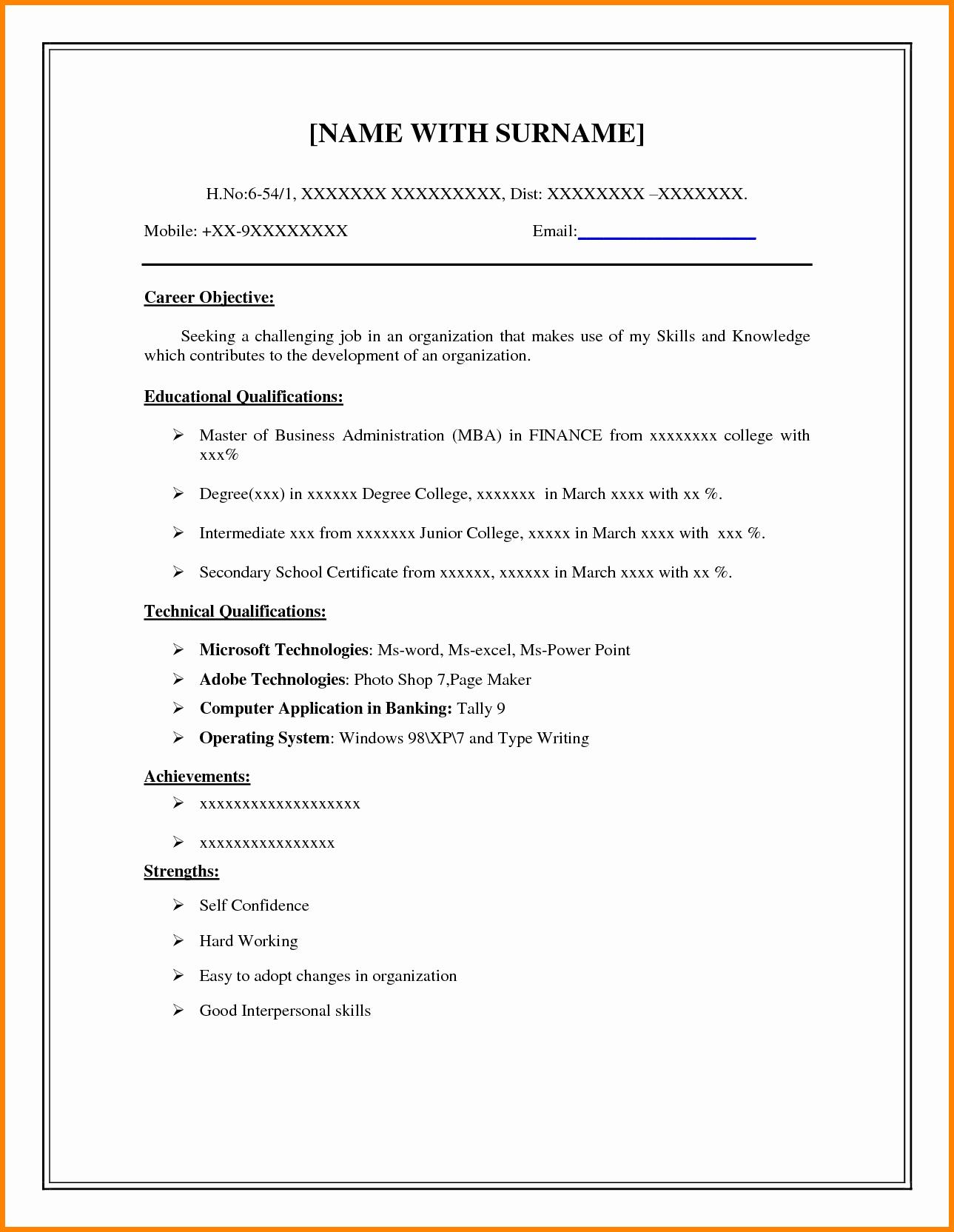 Example Of Simple Resume format Elegant 8 Easy Resume format Sample