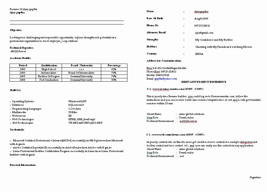 Example Of Simple Resume format Elegant Resume Samples for Freshers