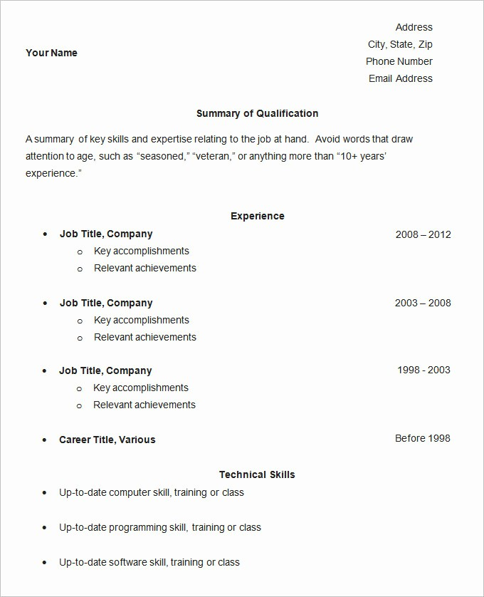 Example Of Simple Resume format Inspirational Simple Resume Template 46 Free Samples Examples