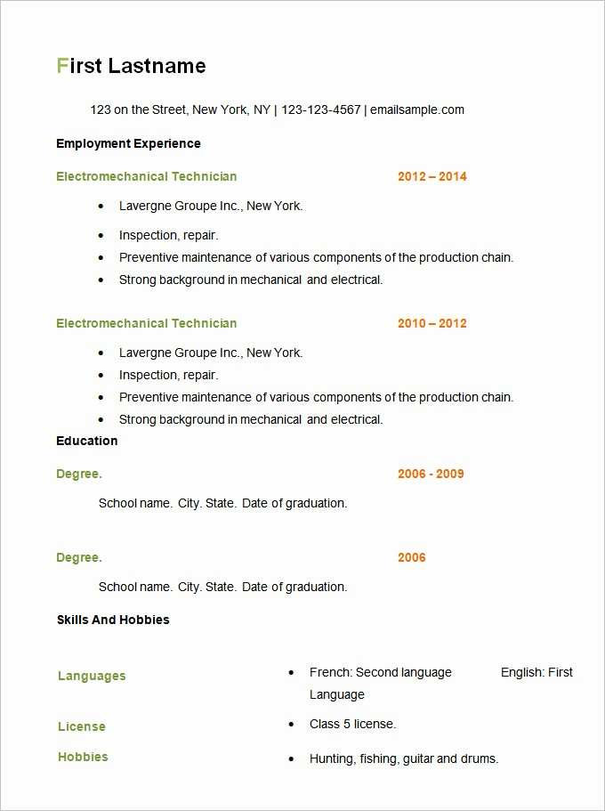 Example Of Simple Resume format Lovely 70 Basic Resume Templates Pdf Doc Psd