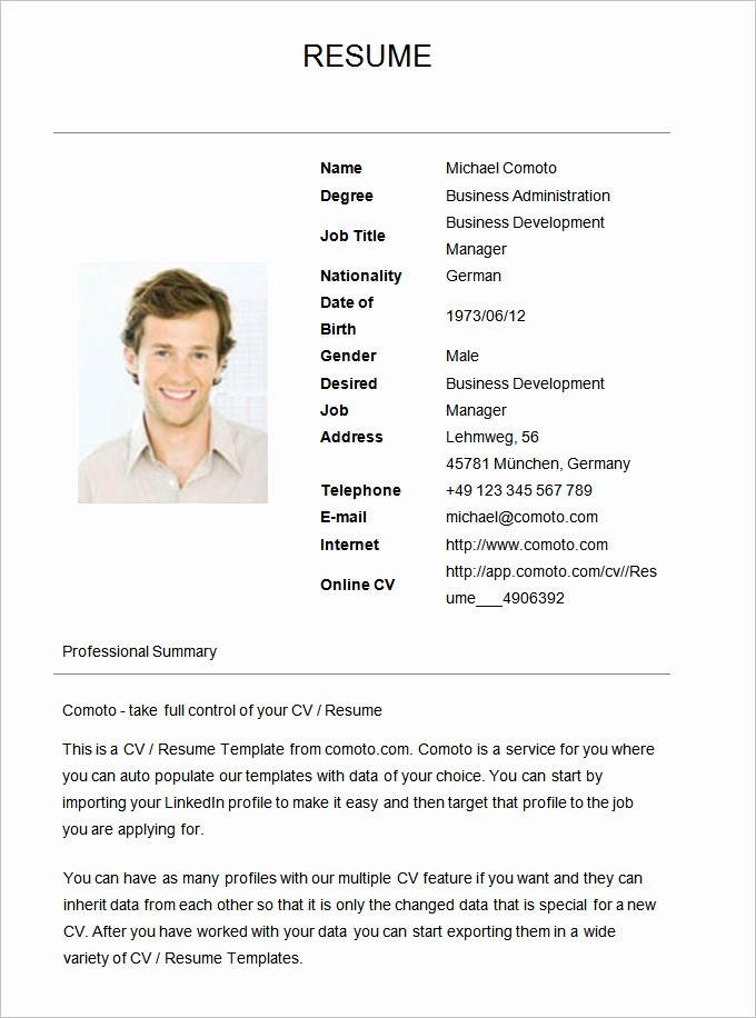 Example Of Simple Resume format Luxury 70 Basic Resume Templates Pdf Doc Psd