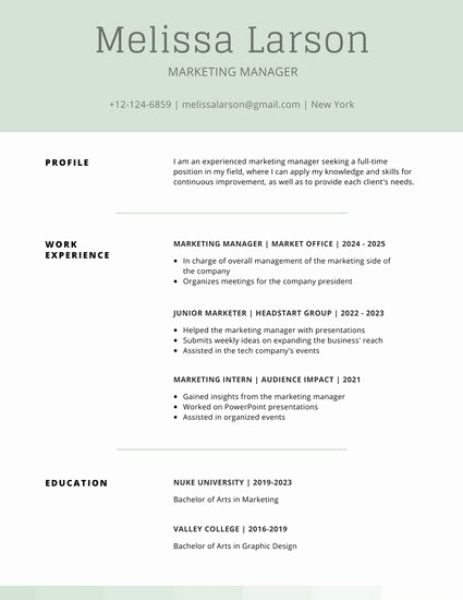 Example Of Simple Resume format Luxury Customize 505 Simple Resume Templates Online Canva