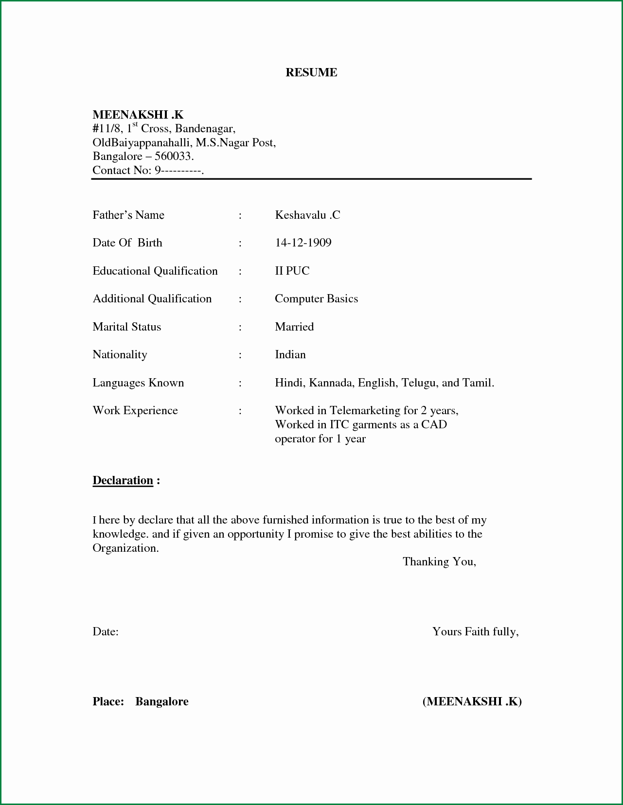 Example Of Simple Resume format Luxury Simple Resume format for Freshers In Word File