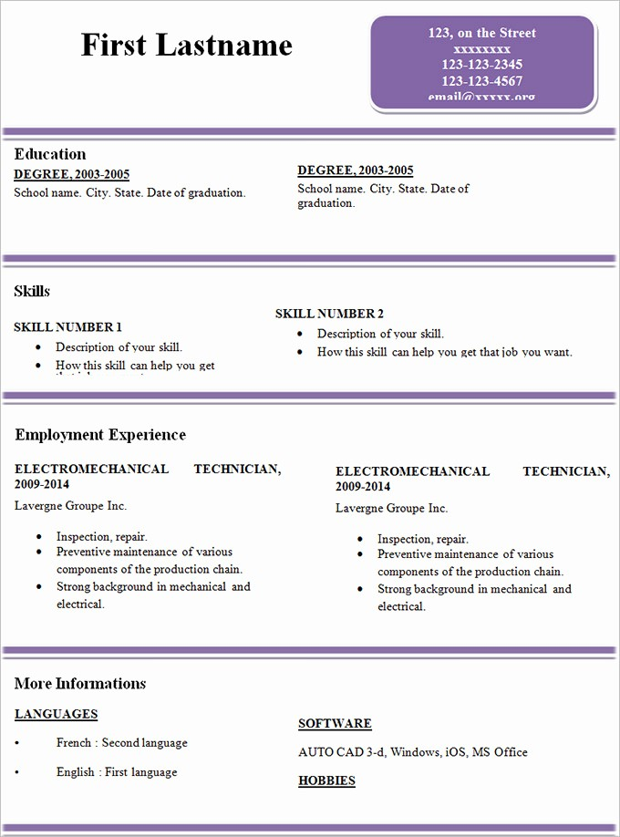 Example Of Simple Resume format New Simple Resume Template 46 Free Samples Examples