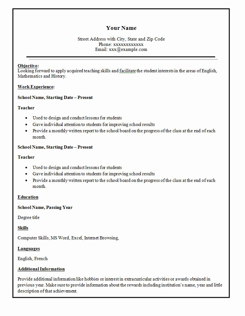 Example Of Simple Resume format Unique Simple Resume Template 46 Free Samples Examples