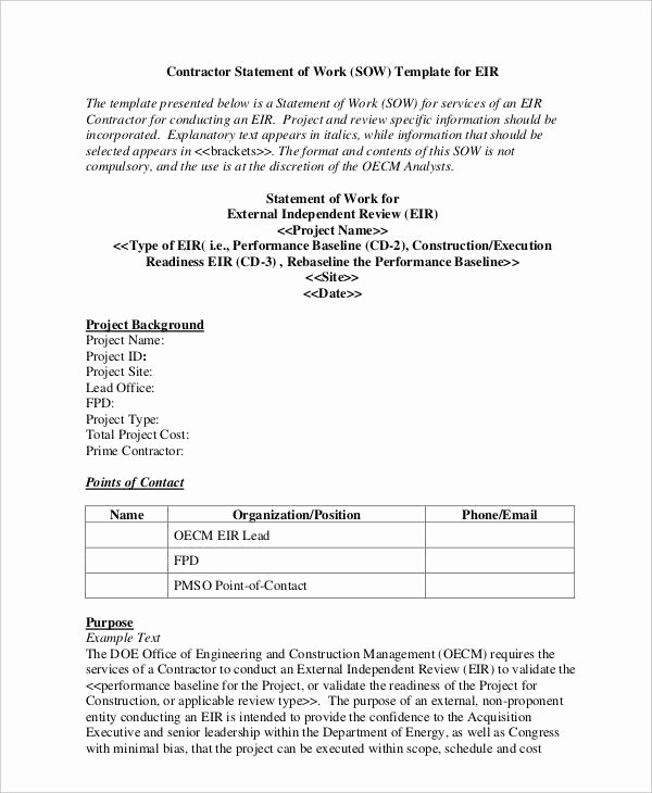 Example Of Statement Of Work Best Of 9 Work Statement Examples Samples