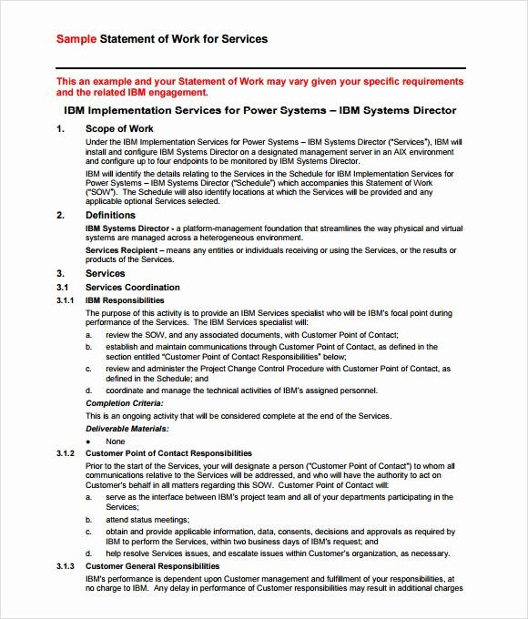 Example Of Statement Of Work Elegant 10 Statement Of Work Samples