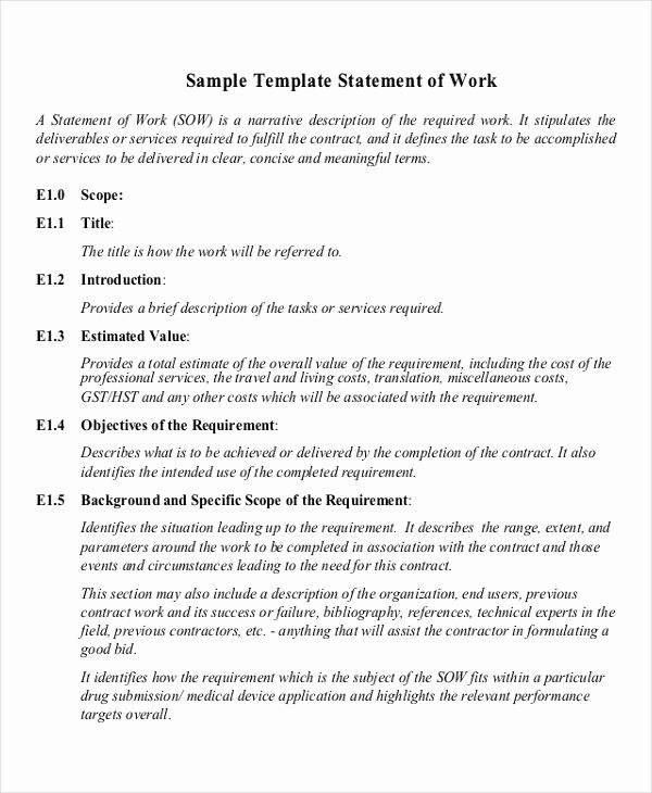 Example Of Statement Of Work Fresh 9 Work Statement Examples Samples