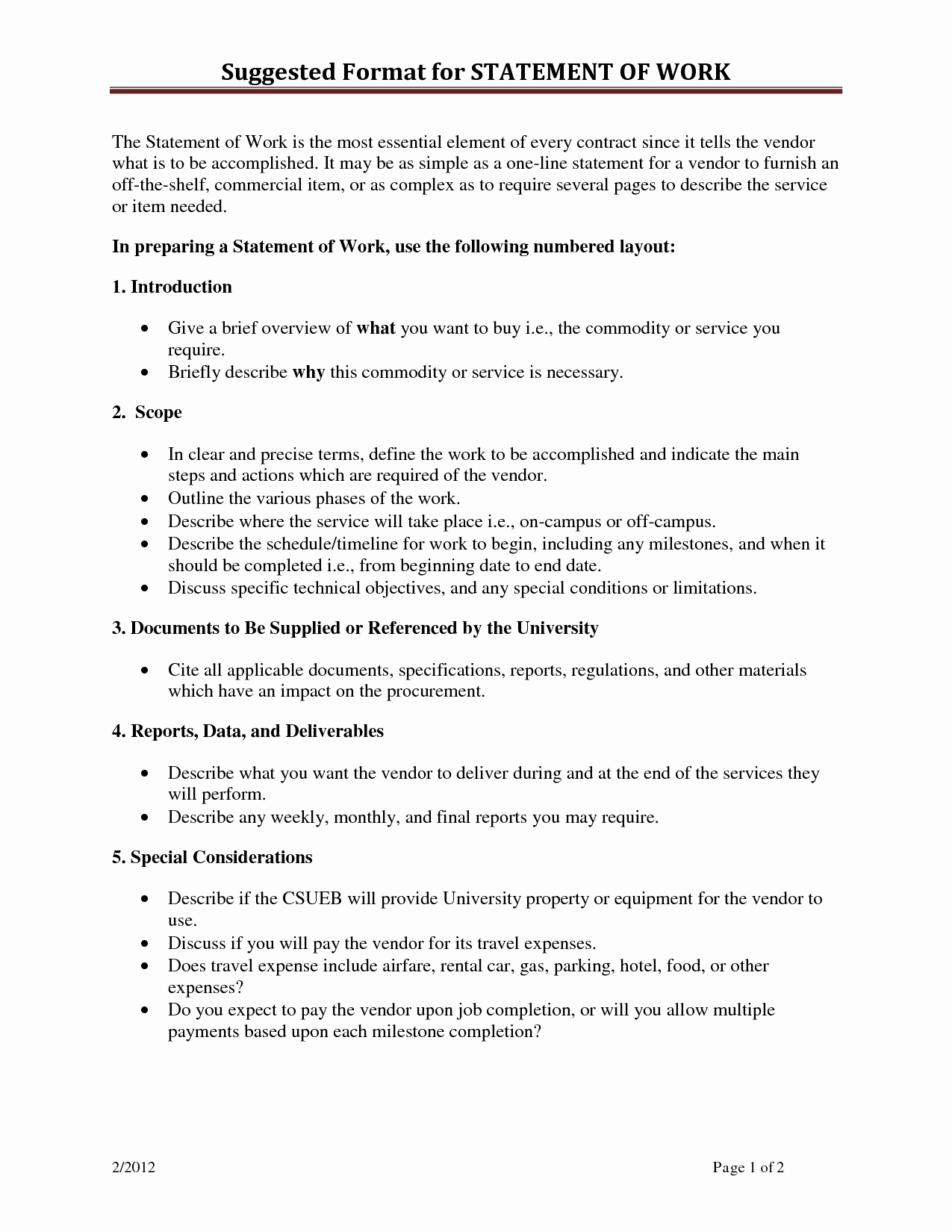 Example Of Statement Of Work Fresh Statement Work Template