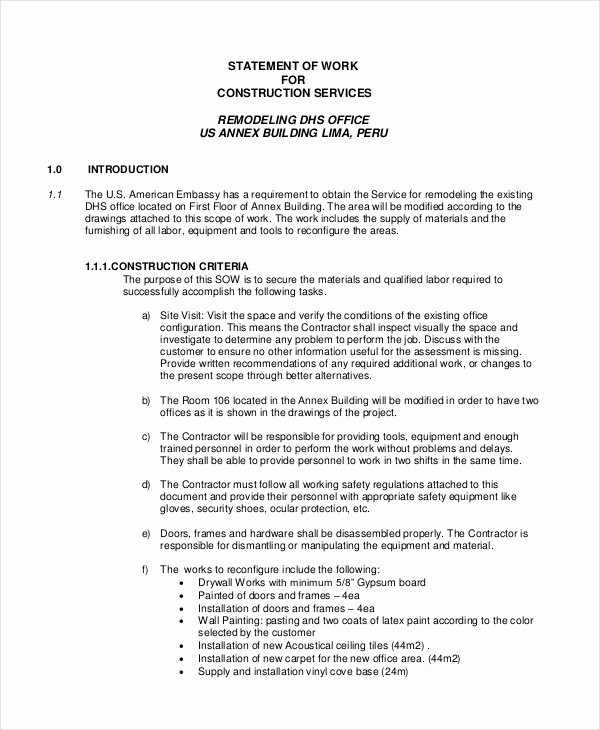 Example Of Statement Of Work Inspirational Statement Of Work Template 12 Free Pdf Word Excel