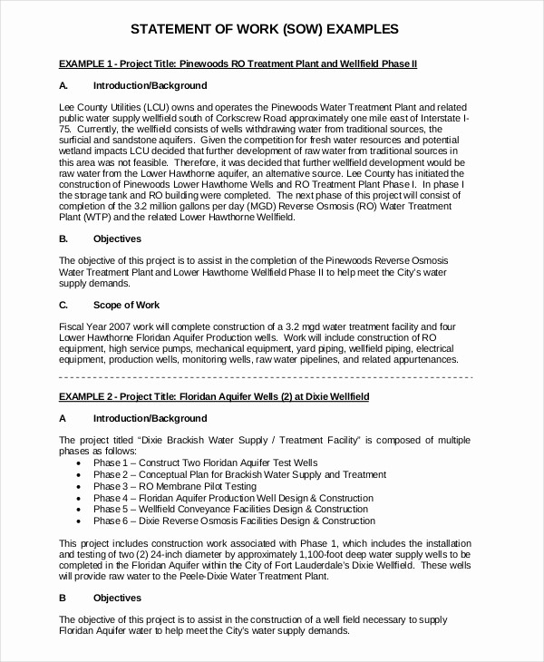 Example Of Statement Of Work New Statement Of Work Template 12 Free Pdf Word Excel