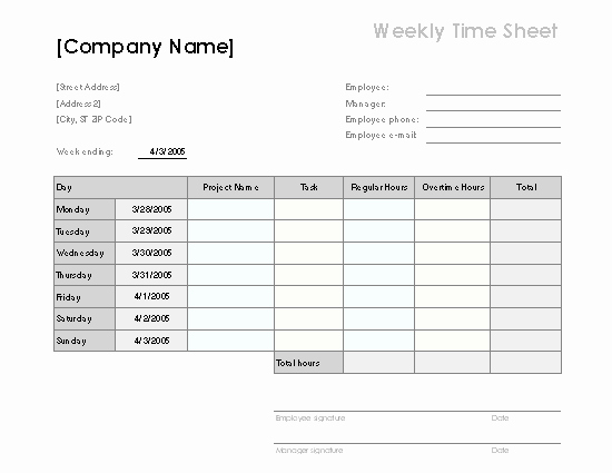 Example Of Timesheet for Employee Beautiful Weekly Time Sheet with Tasks and Overtime