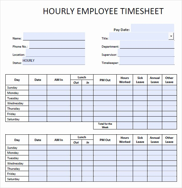 Example Of Timesheet for Employee Fresh 10 Blank Timesheet Templates – Free Sample Example