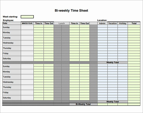 Example Of Timesheet for Employee New 9 Sample Biweekly Timesheet Templates to Download