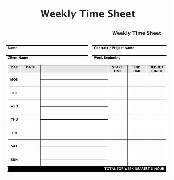 Example Of Timesheet for Employee Unique Weekly Employee Timesheet Template Work